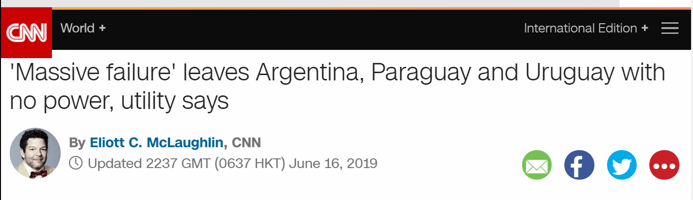 Blackouts in South America