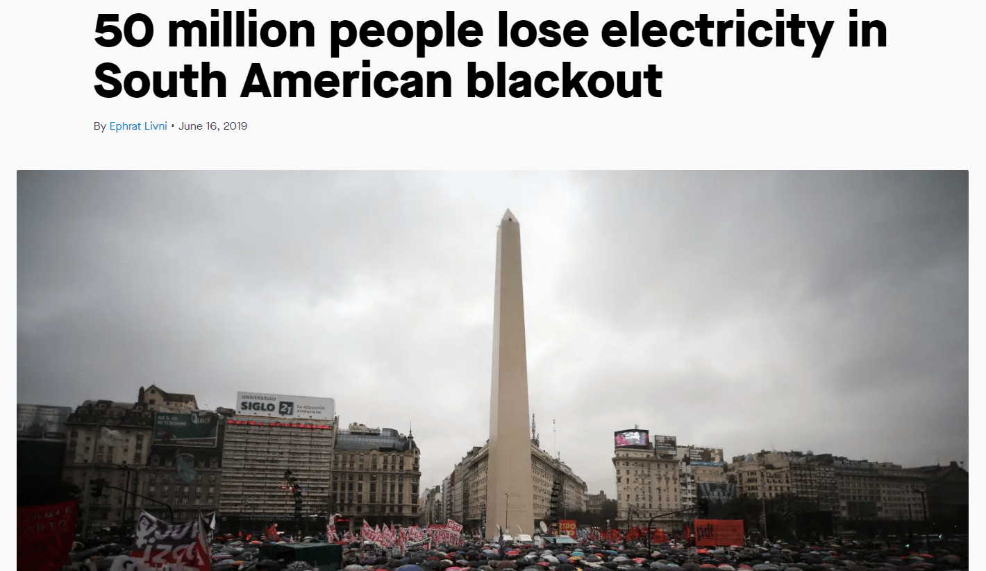 Blackout Argentina 50 million people without power
