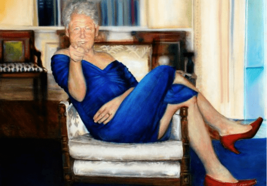 Bill Clinton In Dress And Heels At White House In Jeffrey Epstein Painting