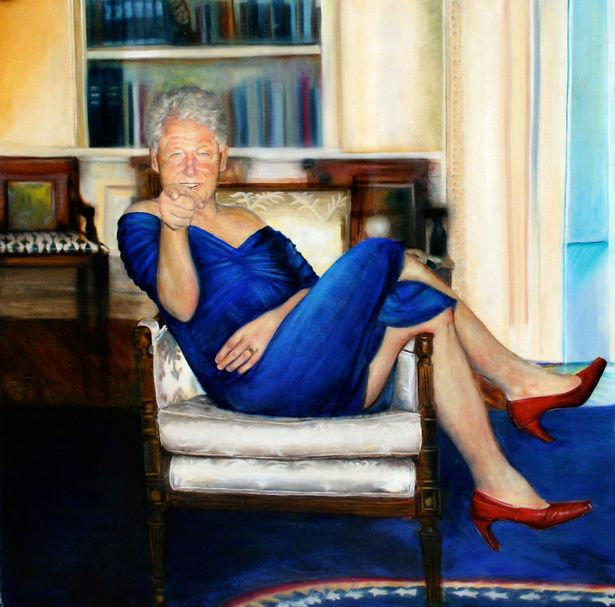 Bill Clinton In Dress The picture was in a room off the stairway of the Upper East Side townhouse