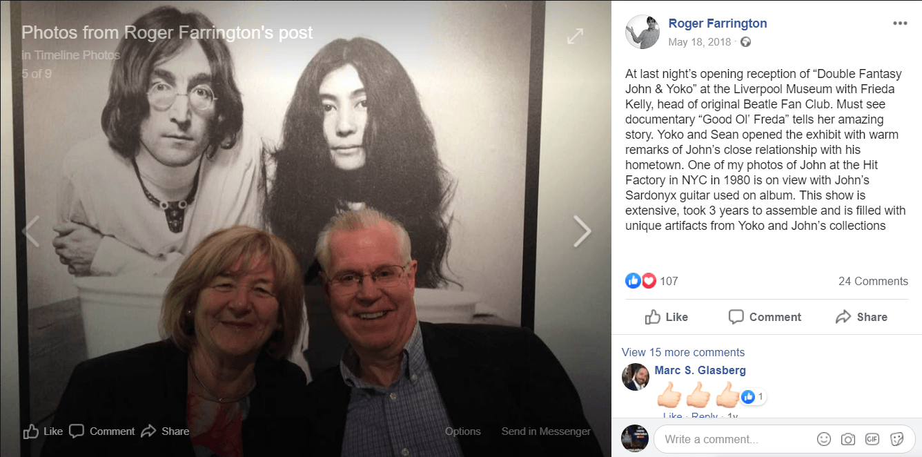 """Roger Farrington writes: At last night's opening reception of """"Double Fantasy John & Yoko"""" at the Liverpool Museum with Frieda Kelly, head of original Beatle Fan Club. Must see documentary """"Good Ol' Freda"""" tells her amazing story. Yoko and Sean opened the exhibit with warm remarks of John's close relationship with his hometown. One of my photos of John at the Hit Factory in NYC in 1980 is on view with John's Sardonyx guitar used on album. This show is extensive, took 3 years to assemble and is filled with unique artifacts from Yoko and John's collections"""
