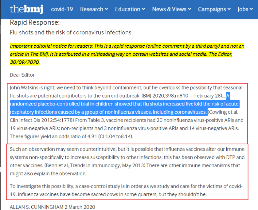 BMJ Flu Jabs contribute to pandemic