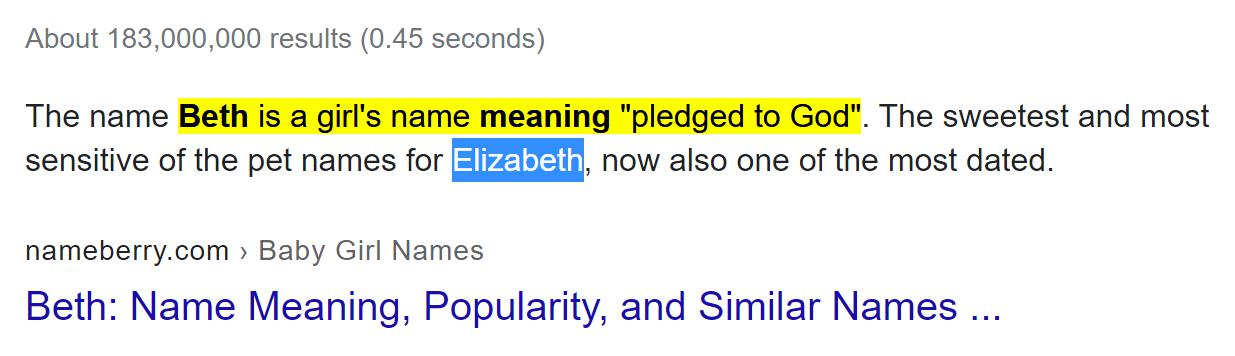Beth means pledged to God