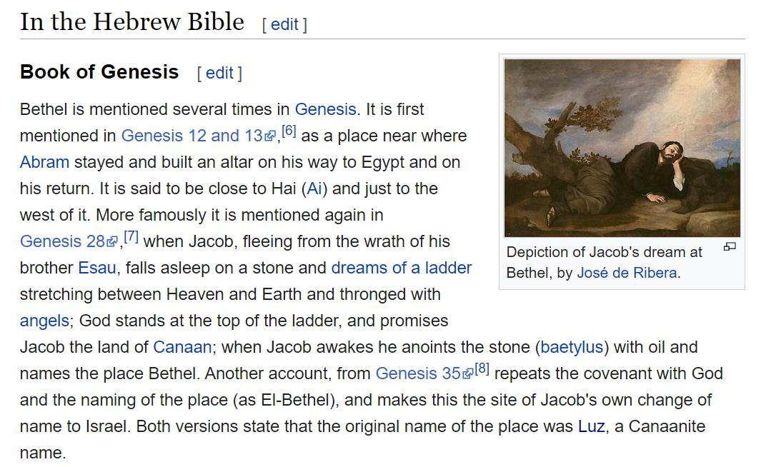 Bethel is mentioned several times in Genesis. It is first mentioned in Genesis 12 and 13