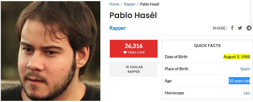 Pablo Hasel is 32 not 33