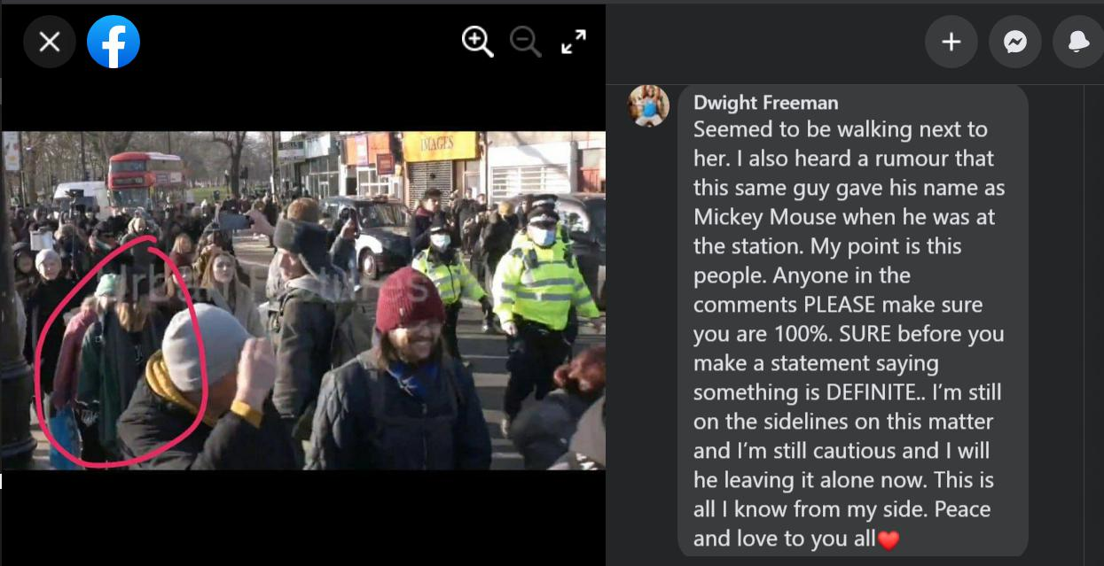 dwight freeman facebook post about sarah everard at footsoldiers for freedom movement
