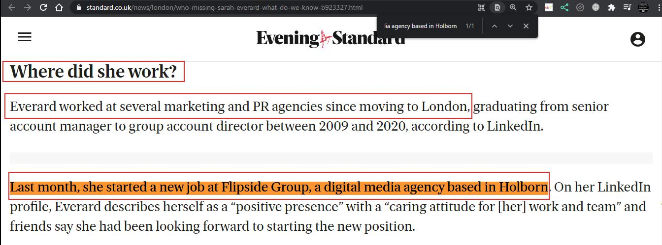 Sarah Everard worked at Flipside Group, a digital media agency based in Holborn