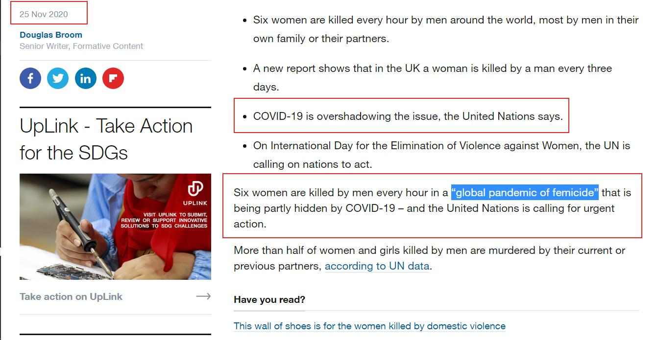 """Six women are killed by men every hour in a """"global pandemic of femicide"""" that is being partly hidden by COVID-19 – and the United Nations is calling for urgent action.  WEF UN"""
