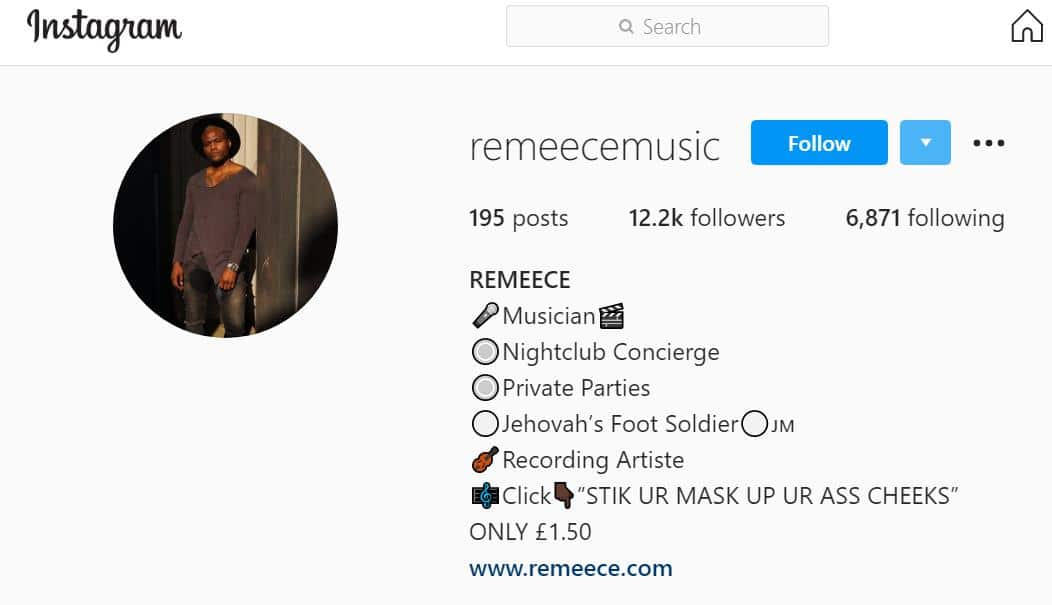 Here is another Instagram account belonging to Edward Freeman aka RemeeceMusic