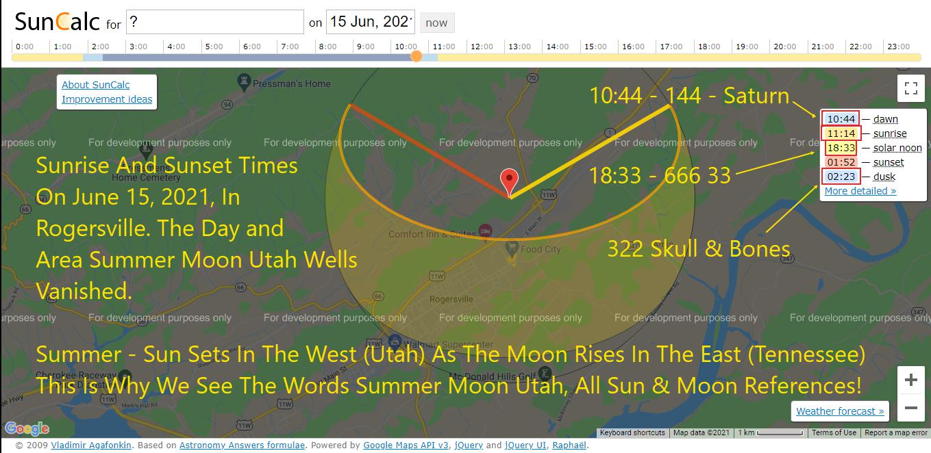 Summer Moon Utah Wells Ritual Map date shows sunset and sunrise has Satanic coding embedded