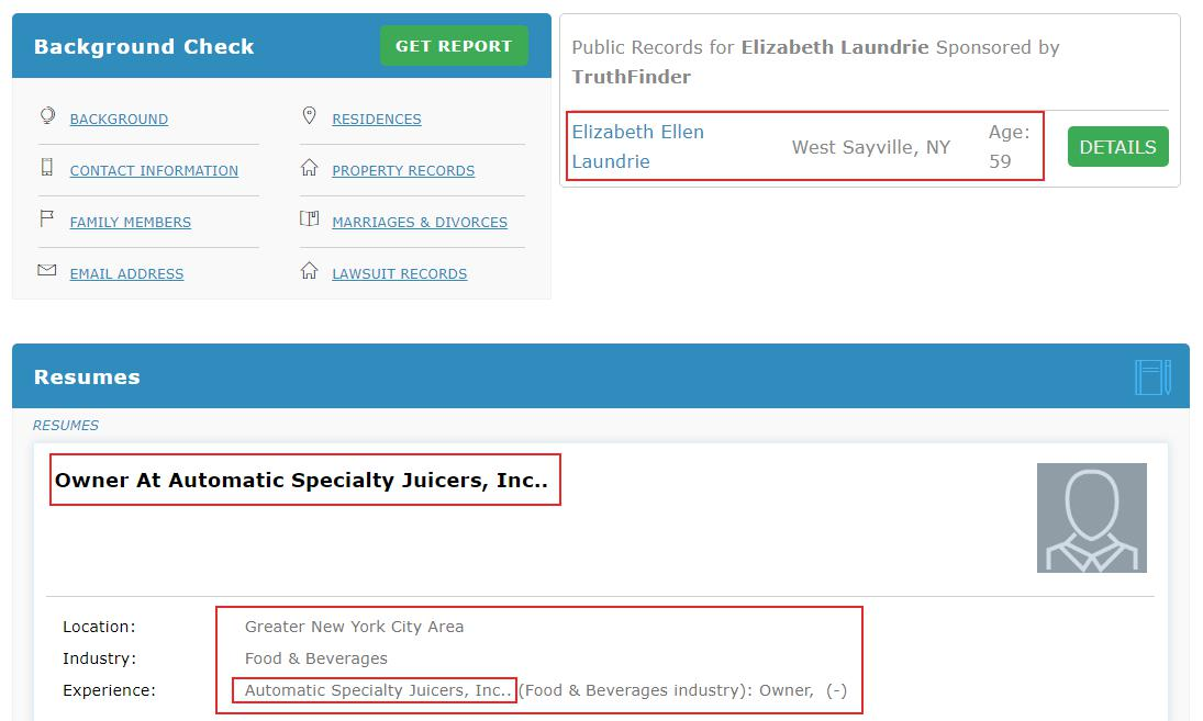 Elizabeth Laundrie Automatic Specialty Juicers, Salt Lake City Bank Of New York